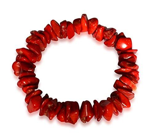 Vifaleno Bracciale in Corallo, Corallo Naturale, schegge, Rosso, 10x7mm
