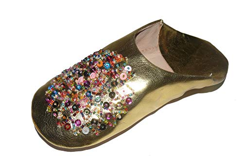 Marrakech Accessoires Orientalische Schuhe Babouche Hausschuhe Pantoffel Slipper aus Marokko - Damen - 905363-0028, Schuhgrösse:42