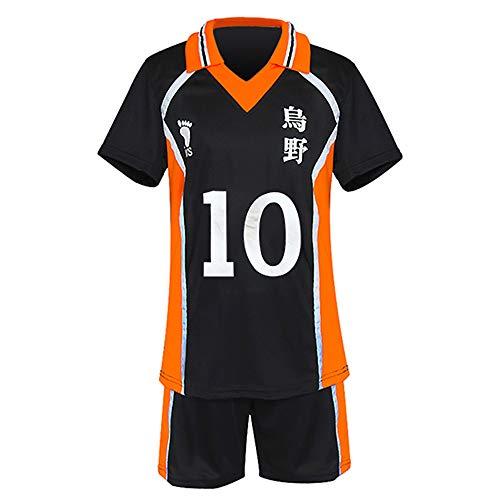 Haikyuu Cosplay Kostüm High School Volleyball Team Uniform T-Shirt und Shorts für Karasuno Sportwear Trikot Gr. M, Nr. 10
