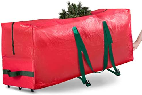 Rolling Large Christmas Tree Storage Bag Fits Artificial Disassembled Trees Durable Handles product image