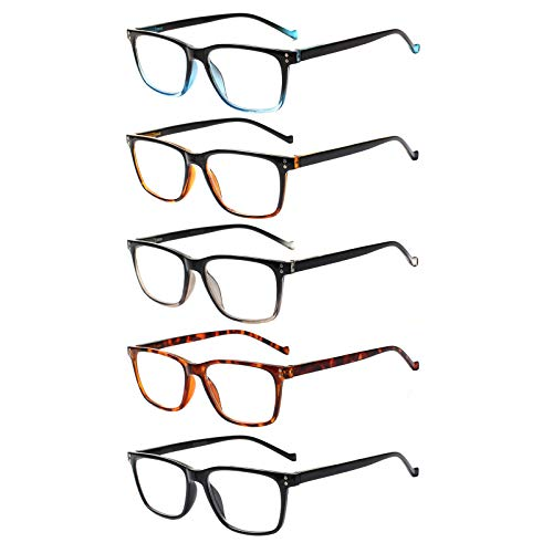 Gafas de lectura 5 unidades para hombres y mujeres, bisagras de primavera, gafas cómodas para leer, 5 colores mezclados, 37.5 EU