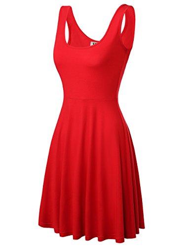DJT Damen Vintage Sommerkleid Traeger mit Flatterndem Rock Blumenmuster Solide Rot M