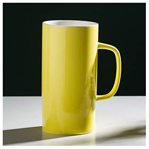 KGDC Tazas de Espresso Taza Grande Capacidad de Agua Taza de cerámica de Color Puro Super Gran Capacidad 1000ml Copa de Vino de la Taza de los Padres y de los Hombres Taza de té (Color : Yellow)