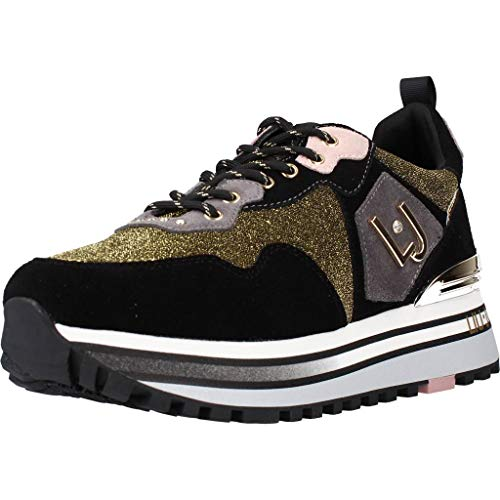 Scarpe Sneaker Liu-Jo Wonder Maxi Suede/Lurex Nero/Gold Donna D21LJ01