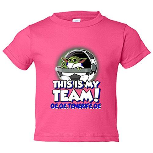 Camiseta niño parodia baby Yoda mi equipo de fútbol Tenerife - Rosa, 5-6 años