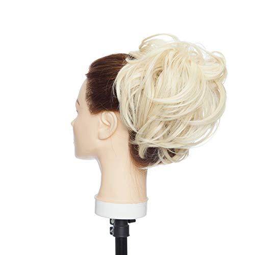 Extensión de cabello desordenado Updo Messy Bun Banda de goma elástica Updo Hairpiece Scrunchies Cola de caballo para mujer Lejía rubia