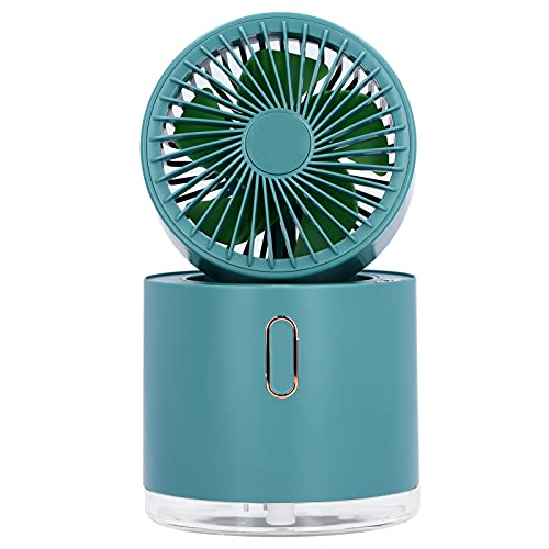 Mini ventilador de aire acondicionado de escritorio, ventilador humidificador de espray giratorio con cabezal vibratorio automático, ventilador de nebulización plegable de mesa con tanque de agua gran