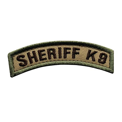 uuKen Small Embroidered Fabric Sheriff K9 Unit Department Unit Tab Tan OCP Multi Camo Style Officer Shoulder Airsoft Tactical Molle Patch with Hook Fastener (Tan, 8.5x2cm)