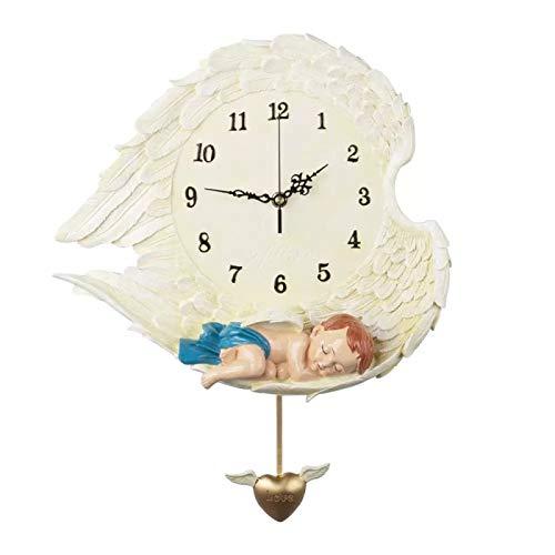 hufeng Reloj de Pared Reloj de Pared Decorativo con péndulo Funciona con Pilas Sin tictac Silencioso Decoración del hogar Relojes para Sala de Estar Dormitorio Cocina