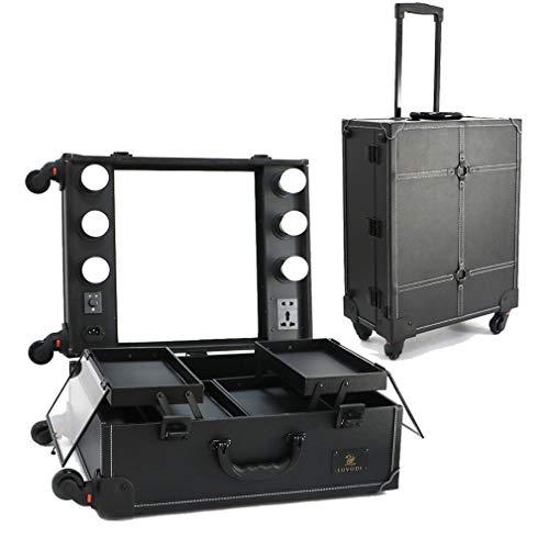 LUVODI Make up Koffer Kosmetik Trolley LED Kosmetikkoffer: Schminkkoffer mit dimmbarer Beleuchtung, Spiegel, Steckdose, 4 Räder