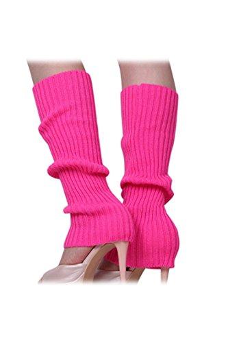 SODIAL Femmes solide Couleur Tricotes sans pied Jambieres Rose rouge