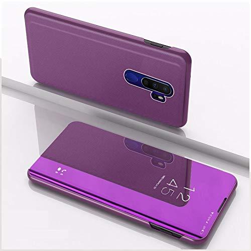HUANGCAIXIA Shell Protector del teléfono móvil para OPPO A9 2020 / A5 2020 Plateado Espejo de Piel Vuelta Horizontal con el Soporte del teléfono móvil de la pistolera (Color : Púrpura)