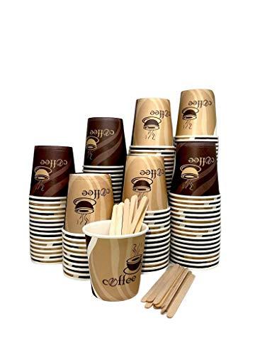 200 bicchieri carta cafee biodegradabili 75 ml + 200 palettine in legno monouso per mescolare