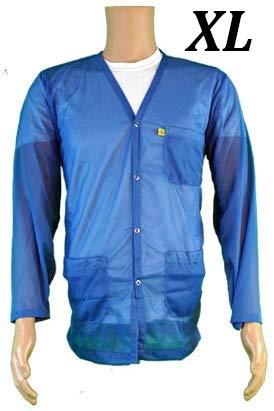 StaticTek Full Sleeve V Neck ESD Jacket | Anti-Static Snap Cuffs Lab Coat | Certified Level 3 Static Shielding | Light Weight | ESD Smocks with High ESD Protection | X-Large | Lt Blue | TT_JKV8825L
