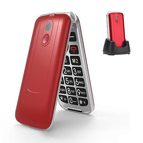 3G Seniorenhandy ohne Vertrag, Großtasten klapphandy tastenhandy,Rentner Handy mit Tasten Notruffunktion,Dual-SIM 2.8 Zoll Display(Rot)