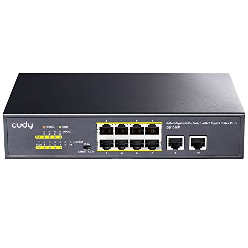 Cudy GS1010P Switch Ethernet Gigabit 10 Porte Poe+ 120W, 8 Porte 10/100/1000Mbps Poe/Poe+, Switch Unmanaged, No Alimentazione Aggiuntiva, 802.3af/at, Versione Rack in Metallo