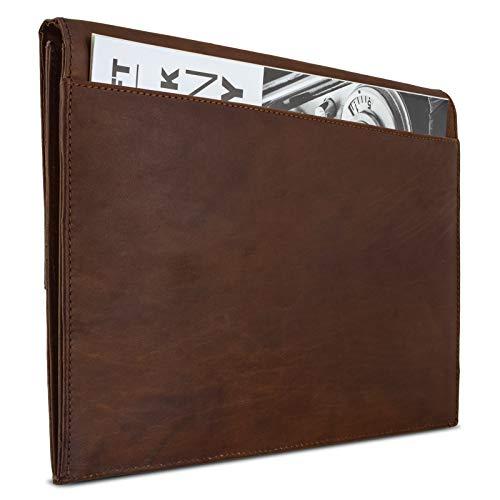 eFabrik Schutzhülle für Huawei MateBook E Ledertasche (passend für MateBook E 12' + Tastatur-Hülle) Schutz Tasche Vintage Hülle Cover Sleeve, Farbe:Cognac Braun - 5