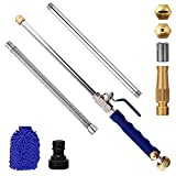 Deitybless 38'' Extendable Jet Cleaning Wand Watering Wand with 3 Hose Nozzle Watering Sprayer Cleaning Tool Flexible Garden Watering for Gutter Patio Car Pet Window(Blue)