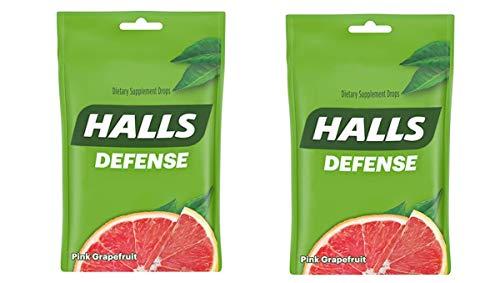 Halls Defense Pink Grapefruit Vitamin C Drops - with Immune Support - 30 Drops (Pack of 2) Total 60 Drops
