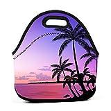 Palm Tree - Bolsa de almuerzo de neopreno, reutilizable, portátil, ligera, para mujer, niñas y hombres