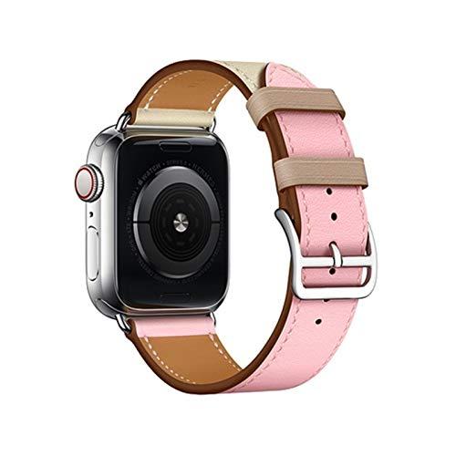 CGGA Correa de Cuero para Apple Watch 6 Band 44mm 40 mm Iwatch Band 38mm 42mm Deporte Pulsera de Silicona para Apple Watch 6 5 4 3 42 40 38 44 mm Correa de Reloj