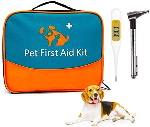 Erste-Hilfe-Set für Haustiere, Tierärztliche Erste-Hilfe-Tasche für Hunde, Katzen, Kaninchen, Tiere, Otoskop, Perfekt für Häusliche Pflege und für Notfälle im Freien