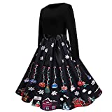 RMH 2021 - Vestido de Navidad para mujer, vestido de fiesta, vestido de invierno, manga larga, vestido de Navidad, vestido de año 50, 07-negro, S