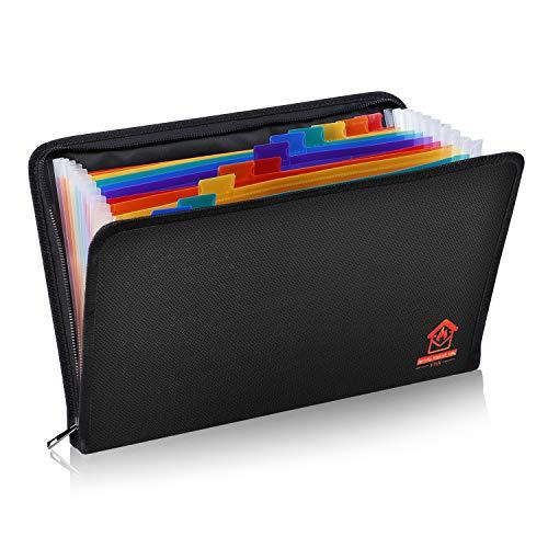 ファイルフォルダ 耐火 防水 ドキュメントファイル A4 ファイルケース 書類ケース 持ち運び 13ポケット じゃばら 大容量 拡張フォルダ フタ付き カラフル 防災
