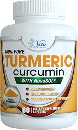 Turmeric Curcumin Supplement Liquid Softgels -185 X Absorption Compared To 95% Standardized Curcuminoids with BioPerine Black Pepper Extract Anti inflammatory Joint Pain Relief Curcuma