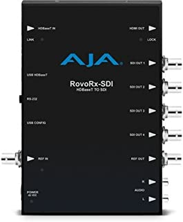AJA RovoRx-SDI UltraHD/HD HDBaseT Receiver to 6G/3G-SDI and HDMI frame sync w/ PoH, Genlock