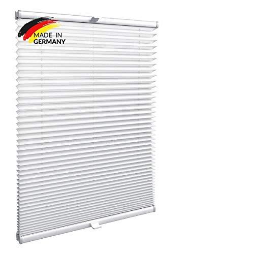 Gardinen21 Plissee nach Maß zum Kleben | Jalousien Rollo mit Klebefunktion | Sonnenschutz und Sichtschutz | Maßgefertige Fenster & Türen Rollos in Weiß