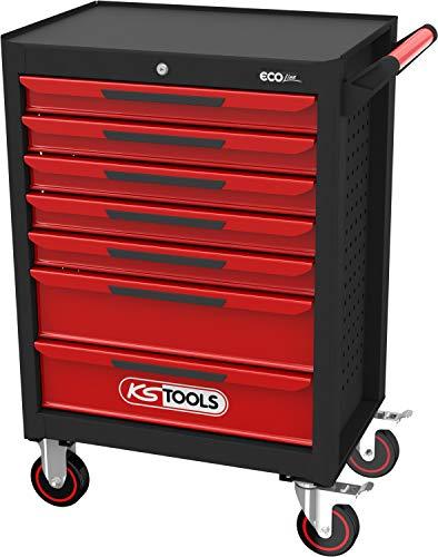 KS Tools 897.0007 SCHWARZ/ROT ECOline Werkstattwagen mit 7 Schubladen, Einheitsgröße