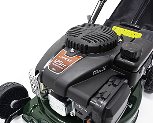Webb 4 Wheel Push Petrol Rotary 4 Stroke Engine Lawnmower with 6 Cutting Heights, 41cm (16') Cutting Width and 40L Collection Bag - 2 Year Guarantee