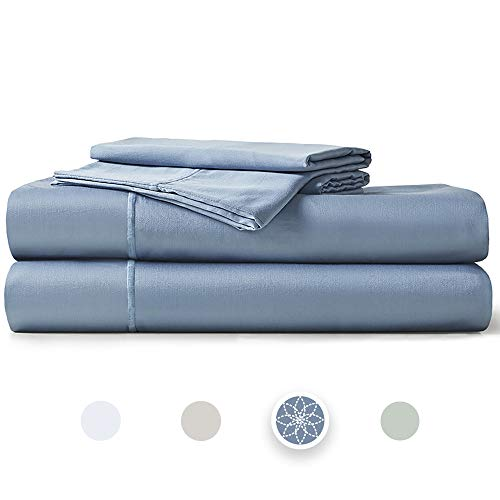 """Hyde Lane 400TC Sateen Cotton Twin Sheet Set Blue  3 Piece – Fitted, Flat Sheet & Sham   Stretches Up to 14"""" to Cover Most Mattress Sizes - Retains Elasticity   Super Soft- Shrink & Pilling Proof"""
