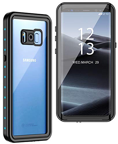 GOLDJU Samsung Galaxy S8+ Plus Waterproof Case, Full Body Protection with Built-in Screen Protector IP68 Waterproof Dustproof Shockproof Underwater Cover for Samsung Galaxy S8+ Plus (Blue)