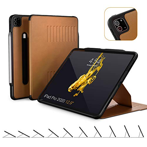 ZUGU CASE (New Model) Alpha Case for 2020 iPad Pro 12.9 inch - Ultra Slim Protective Case - Wireless Apple Pencil Charging - Convenient Magnetic Stand & Sleep/Wake Cover (Brown)
