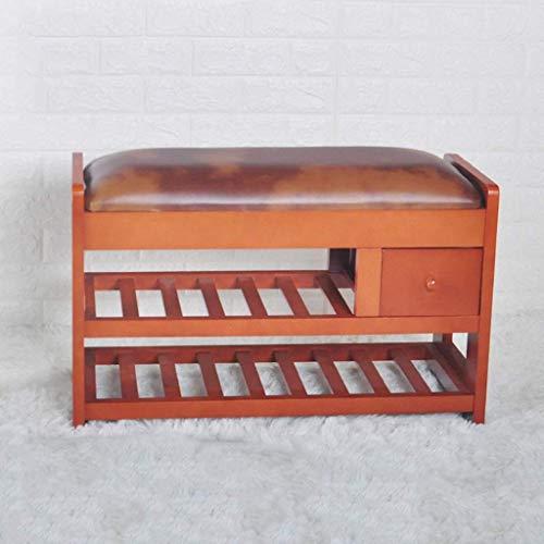 Schoenenrek van massief hout schoenenbank eenvoudige schoenenkast woonkamer schoenen kruk opslag porch schoenenrek eenvoudige startpagina slaapbank End kruk (kleur: A) C