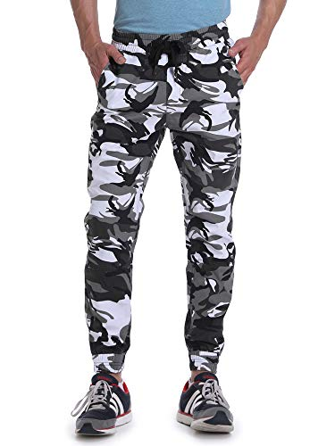 OCHENTA Men's Drawstring Casual Camo Jogger Pants Black White Camo Tag 36 - US 34