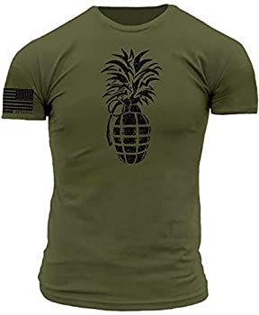 Pineapple Grenade Stencil Military Green with Black Print Premium Athletic Fit T-Shirt  XXX-Large