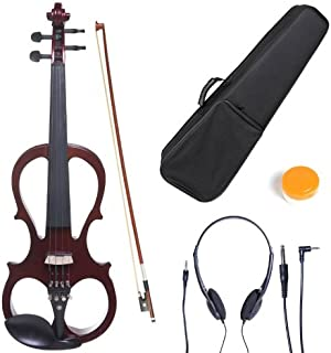 Cecilio 4/4 CEVN-1NA Solid Wood Mahogany Metallic Electric / Silent Violin with Ebony Fittings in Style 1 (Full Size)