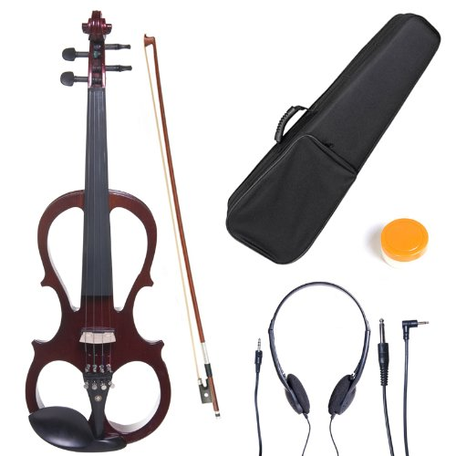 Cecilio 3/4 CEVN-1NA Solid Wood Electric/Silent Violin with Ebony Fittings in Style 1 - mAhogany Metallic