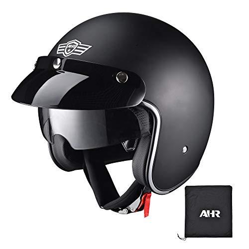 AHR RUN-O Retro 3/4 Open Face Motorcycle Helmet with Removable Snap on Sun Shield Visor DOT Approved Matt Black L