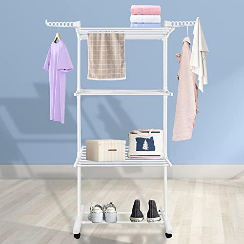 Innotic - Tendedero plegable de 3 niveles para ropa con alas laterales y ruedas para interiores (blanco)