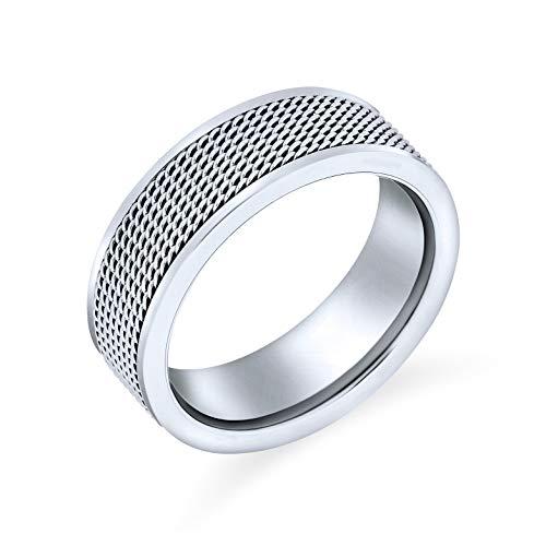 Bling Jewelry Cuerda Chain Mail Cable De Malla Anillo Anillo De Bodas para Hombres Y para Mujer De Acero Inoxidable Tono Plata 8Mm