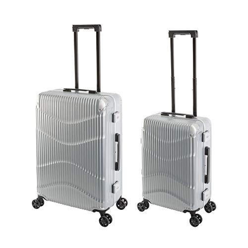 Travelhouse - NY Wave - 2er Koffer-Set, Polycarbonat Hartschalenkoffer, S-55, M65 cm, Design-TSA-Nummernschlösser, Alu-Rahmen, Silber