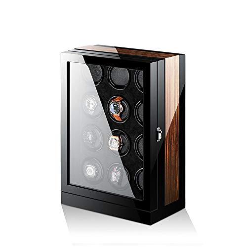 Enrollador de Reloj 12 + 0, Exterior de Fibra de Carbono con Acabado de Piano y Almohadas de Reloj Flexibles Suaves, Cajas de Almacenamiento de Reloj con Pantalla LCD + luz Ambiental LED
