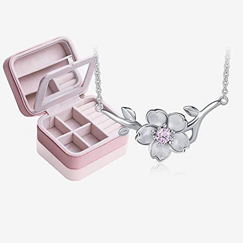 NYKK Necklace Cherry Blossom Necklace Wild Silver Necklace Japan and South Korea Clavicle Chain Necklace Female Jewelry 925 Silver Simple Pendant (Color : E)
