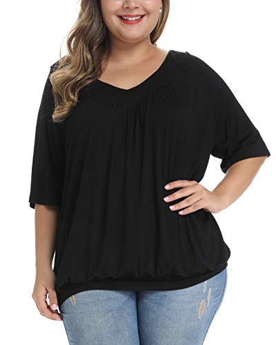 andy & natalie Women's Plus Size Tops Pleated V Neck Loose Baggy Blouse T Shirts Black