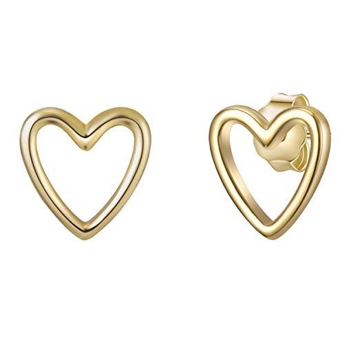 Glanzstücke München Damen-Ohrstecker Herz Sterling Silber gelbvergoldet - Ohrringe Herz-Form Ohr-Schmuck gold Frauen Mädchen Teenager