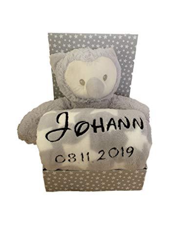 Kinder Baby Set mit Name & Geburtsdatum bestickt (auf der Decke) inkl. Plüsch Stofftier - Geschenk Taufe Geburt (Eule/Grau)